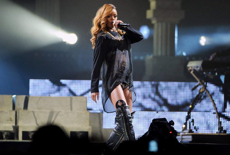Photo -  Singer Rihanna performs at the Barclays Center on Tuesday, May 7, 2013 in New York. (Photo by Evan Agostini/Invision/AP) ORG XMIT: NYEA105