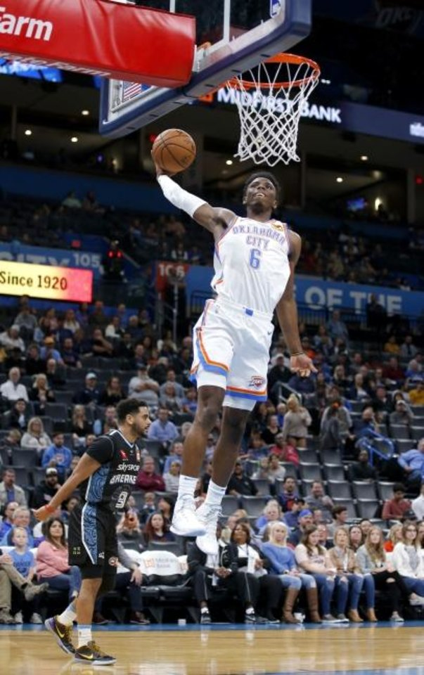 Photo -  Oklahoma City's Hamidou Diallo  goes up for a dunk during Thursday night's preseason win over the New Zealand Breakers at Chesapeake Energy. [Sarah Phipps/The Oklahoman]