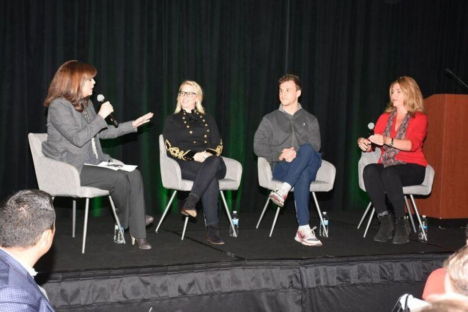 Photo -  From left, Rhonda Hooper moderates a panel of entrepreneurs including Heather Paul, Good Egg Dining Group; Jeff Ragan, KiZE; and Robin Smith, WeGoLook. [PHOTO BY TRACY REECE, FOR THE OKLAHOMAN]