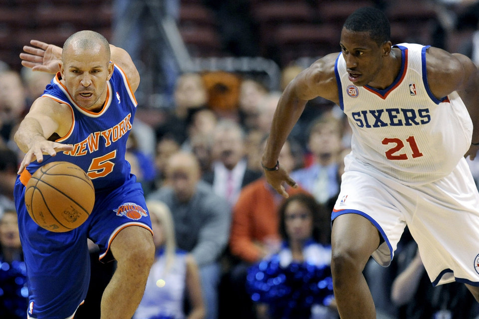Photo -   New York Knicks' Jason Kidd (5) steals the ball from Philadelphia 76ers' Thaddeus Young (21) in the first half of an NBA basketball game, Monday, Nov. 5, 2012, in Philadelphia. (AP Photo/Michael Perez)