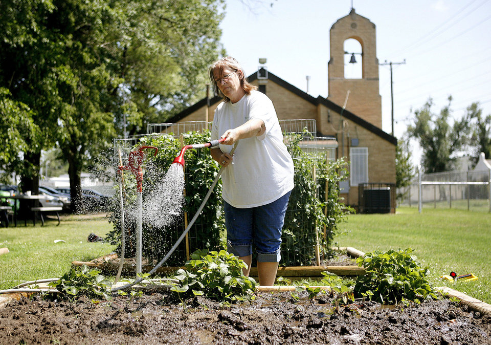 Photo - Ricki Poppe waters strawberry plants in the garden at Sanctuary Women's Development Center. Photo by Ashley McKee, THE OKLAHOMAN