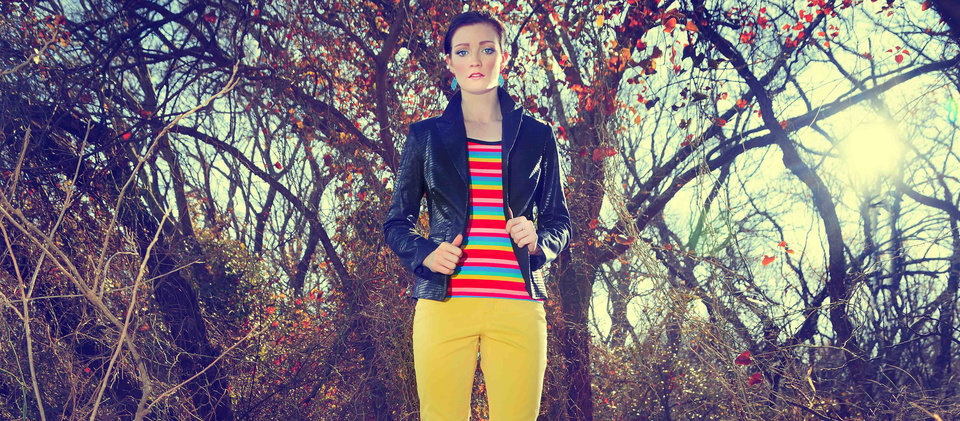 Use black to ground bright colors. Stripe T-shirt by AZI and Woman cotton coated black jacket with Christopher Blue yellow jeans from Ruth Meyers. Model is Emiliy, makeup by Lilly Stone, Sooo Lilly Cosmetics. Photo by Chris Landsberger, The Oklahoman. CHRIS LANDSBERGER