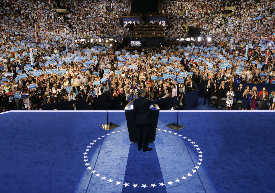 Photo -   President Barack Obama speaks to delegates at the Democratic National Convention in Charlotte, N.C., on Thursday, Sept. 6, 2012. (AP Photo/Charlie Neibergall)