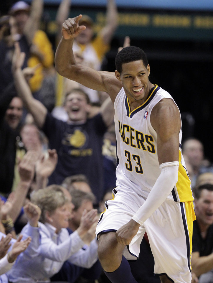 Photo -   Indiana Pacers forward Danny Granger celebrates a 3-point basket in the first half of Game 5 of an NBA basketball first-round playoff series against the Orlando Magic, in Indianapolis on Tuesday, May 8, 2012. (AP Photo/Michael Conroy)