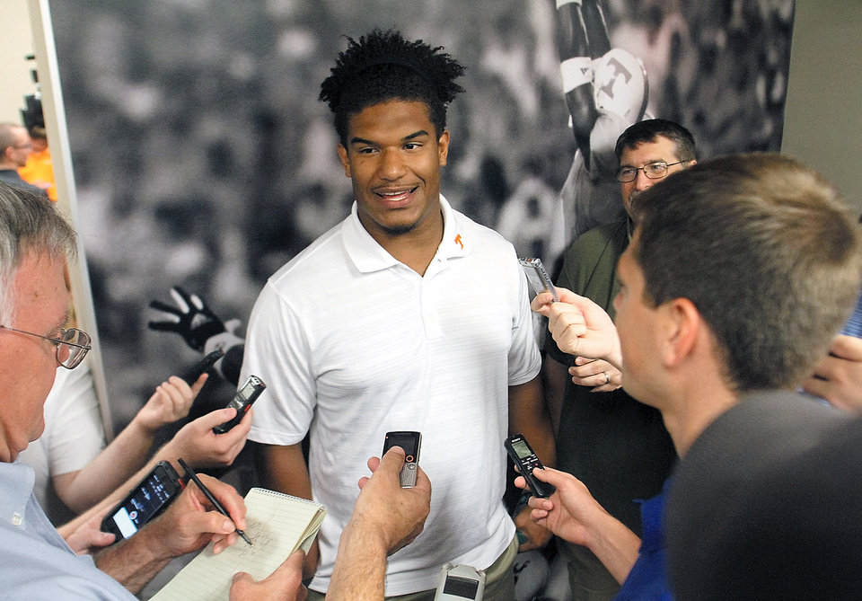 Photo - University of Tennessee football defensive lineman Jordan Williams answers questions at Neyland Stadium at the University of Tennessee Football Media Day Thursday, July 31, 2014 in Knoxville, Tenn. (AP Photo/The Daily Times, Tom Sherlin)