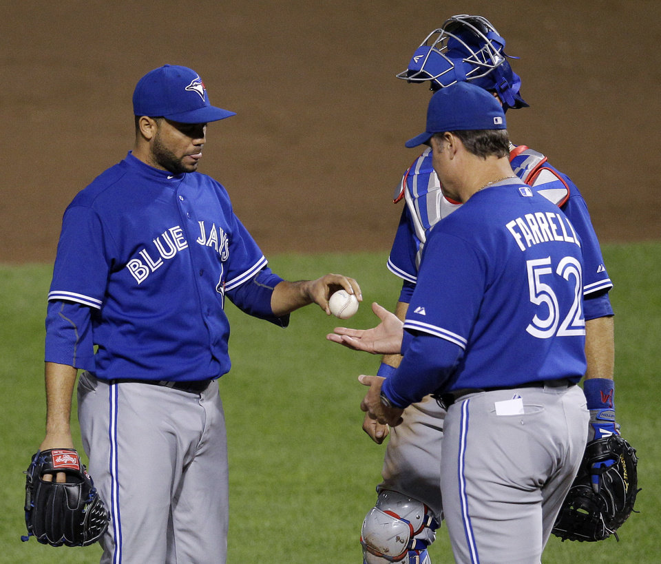Photo -   Toronto Blue Jays relief pitcher Luis Perez, left, hands the ball to manager John Farrell in the seventh inning of a baseball game against the Baltimore Orioles in Baltimore, Thursday, April 26, 2012. Baltimore won 5-2. (AP Photo/Patrick Semansky)