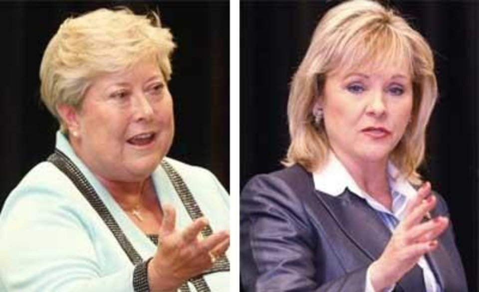 Jari Askins <strong>SHERRY BROWN - TULSA WORLD</strong> Mary Fallin <strong>SHERRY BROWN - TULSA WORLD</strong>