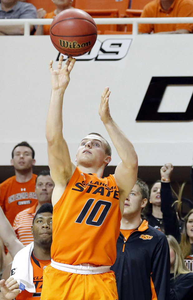Oklahoma State's Phil Forte (10) shoots a three pointer during the men's college basketball game between Oklahoma State and UC Davis at  Gallagher-Iba Arena in Stillwater, Okla., Friday, Nov. 9, 2012. Photo by Sarah Phipps, The Oklahoman