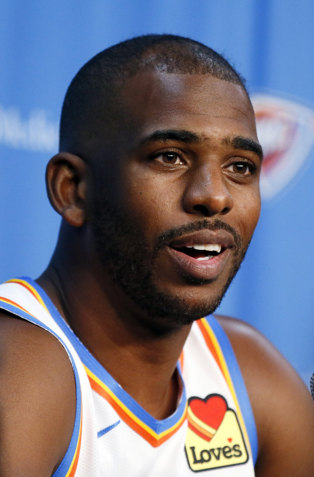 Photo - Oklahoma City's Chris Paul speaks during media day for the Oklahoma City Thunder NBA basketball team at Chesapeake Energy Arena in Oklahoma City, Monday, Sept. 30, 2019. [Nate Billings/The Oklahoman]
