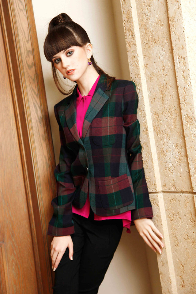 Theory plaid jacket, blouse and Vince slim pant. Available at CK & Co. Makeup by L.J. Hill. Hair by Dianne Truong, Trichology Salon. Photo by Doug Hoke, The Oklahoman