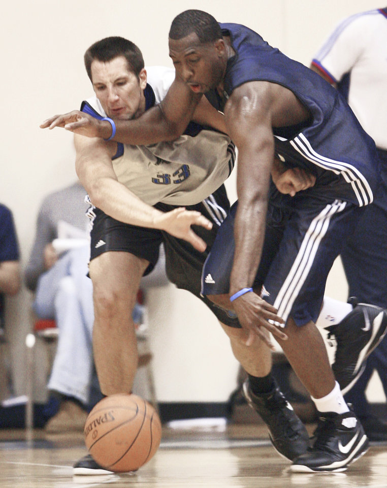 Orlando's Ryan Anderson, left, battles with Thunder's D.J. White during NBA Summer League action on Monday. AP Photo