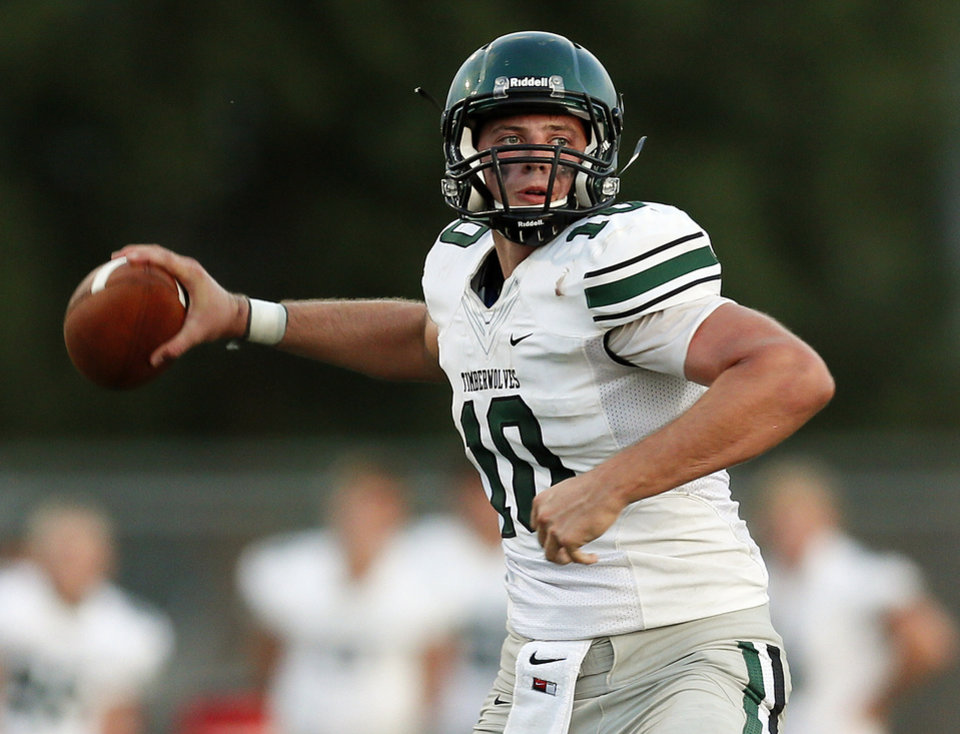 Norman North's David Cornwell (10) passes against Edmond Santa Fe during a football scrimmage at Edmond Santa Fe High School in Edmond, Okla., Thursday, Aug. 22, 2013. Photo by Nate Billings, The Oklahoman
