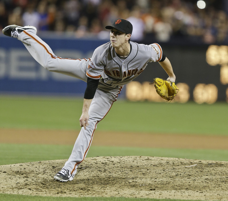 Giants pitcher Tim Lincecum pitches in the ninth inning of his no-hitter in San Diego on Saturday. AP Photo