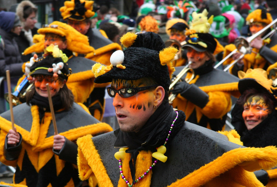 Photo - Numerous bands wind their way through Dublin during the city's annual St. Patrick's Day parade.   Photo by Pat O'Connor    Photo by Pat O'Connor