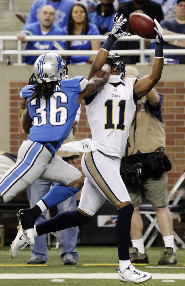 Photo -   St. Louis Rams wide receiver Brandon Gibson (11) makes a touchdown catch while pressured by Detroit Lions cornerback Jonte Green (36) in the fourth quarter of an NFL football game, Sunday, Sept. 9, 2012, in Detroit. (AP Photo/Duane Burleson)