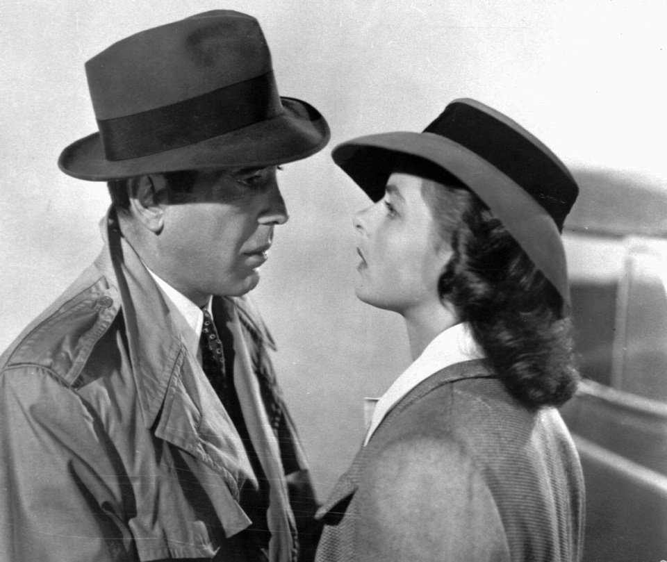 Photo - This studio publicity file photo shows actors Humphrey Bogart and Swedish-born actress Ingrid Bergman in a scene from the 1943 classic film