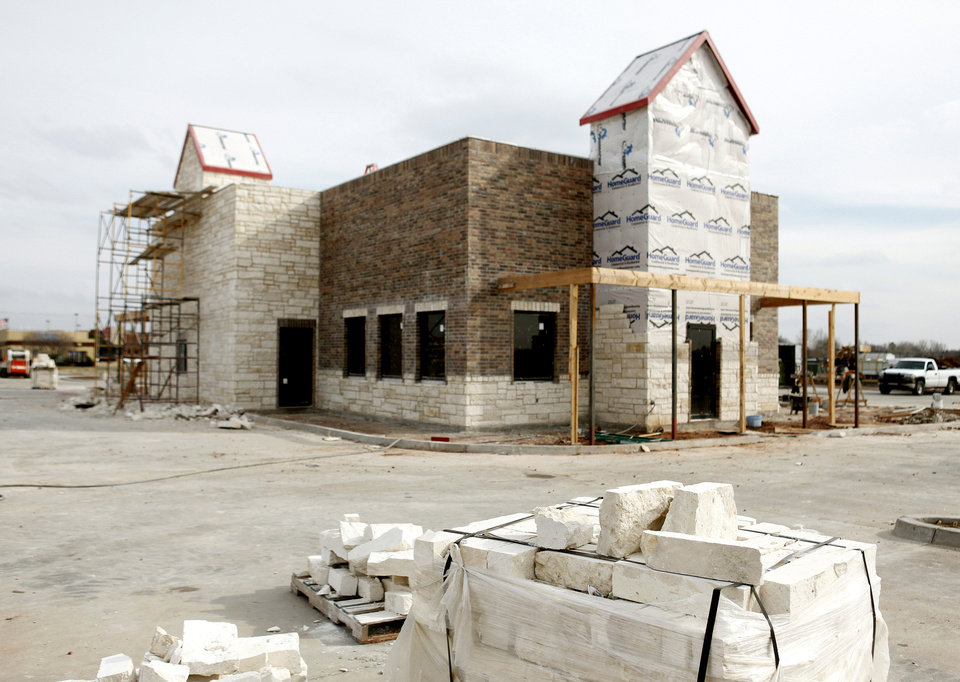 Photo - Construction is proceeding on the Chicken Express in Edmond, OK, Thursday, Feb. 2, 2012. By Paul Hellstern, The Oklahoman