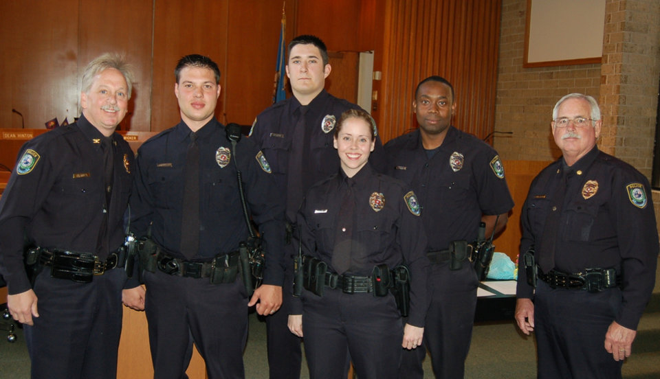 MWC Police Department pins 4 new officers.  From left to right: Chief of Police Brandon Clabes, new officers Joey Miller, Josh Herren, Laura Henry, Terry Cole and Assistant Chief J.D. Collins.<br/><b>Community Photo By:</b> Kay Hunt<br/><b>Submitted By:</b> Kay, Midwest City