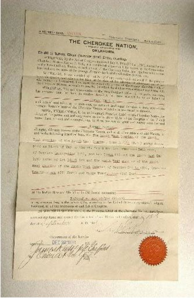 This is a Cherokee Nation Allotment Deed for Israel Martin dated Sept. 18, 1908, signed by James Rudolph Garfield, secretary of the interior and son of the 20th president. Historical document found in a trunk bought for $500 by Craig Sparks By Gary Crow, for The Oklahoman.