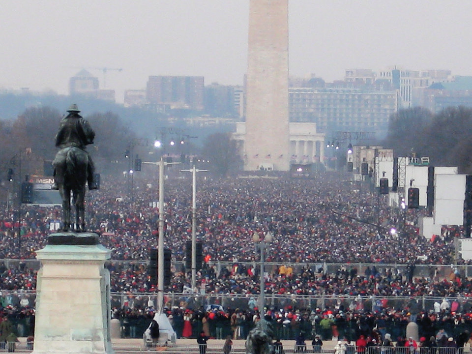 More than a million people jammed the National Mall in Washington on Tuesday for the inauguation of President Barack Obama. By Chris Casteel, The Oklahoman