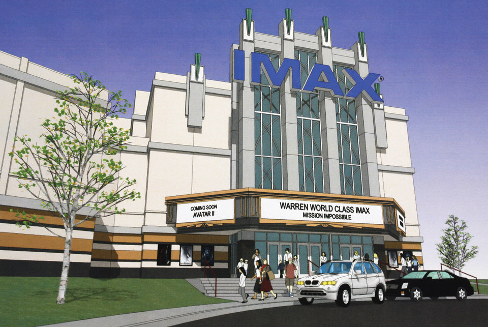 Artist/architect�s drawing of the new IMAX theater coming to the Warren Theatre in Moore. Drawing provided