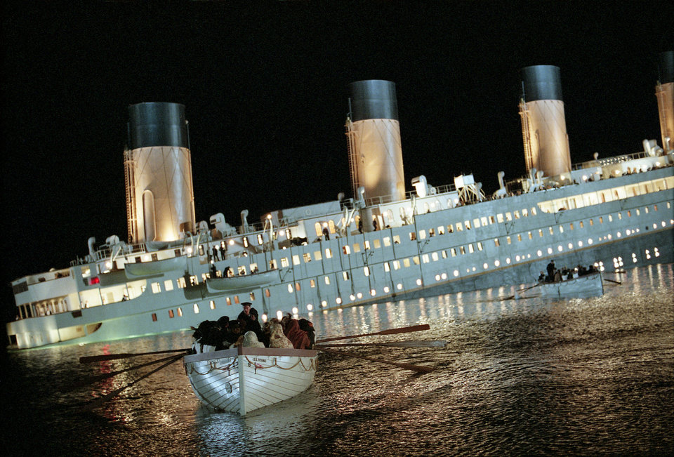 "The climactic sinking scene in ""Titanic."" PARAMOUNT PICTURES PHOTO <strong></strong>"