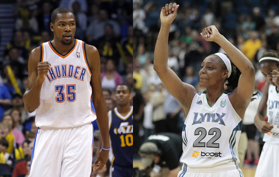 Photo - Kevin Durant, left, and Monica Wright are engaged. Photo by Sarah Phipps, The Oklahoman/AP PHOTOS