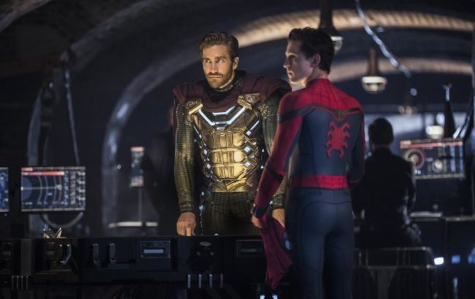 Photo -  This image released by Sony Pictures shows Jake Gyllenhaal, left, and Tom Holland in a scene from
