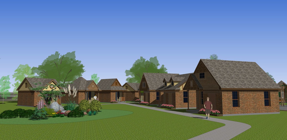 Photo -  An architect's rendering shows how cottages for the homeless will look on land in east Norman. [PHOTO PROVIDED]