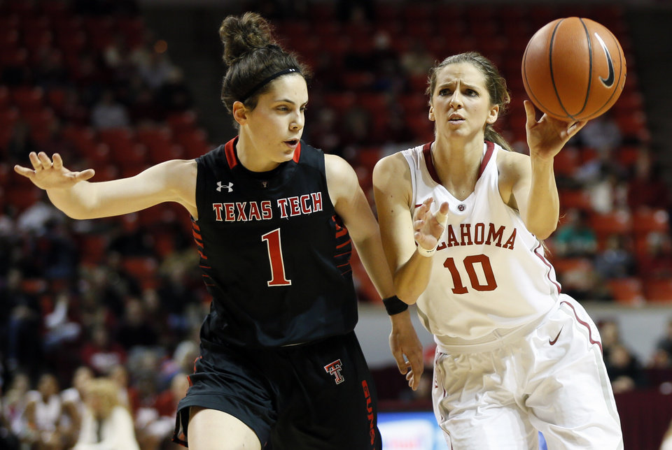 Photo - Oklahoma's Morgan Hook (10) passes away from Texas Tech's Marina Lizarazu (1) during a women's college basketball game between the Oklahoma Sooners and Texas Tech at Lloyd Noble Center in Norman, Okla., Monday, March 3, 2014. Photo by Nate Billings, The Oklahoman