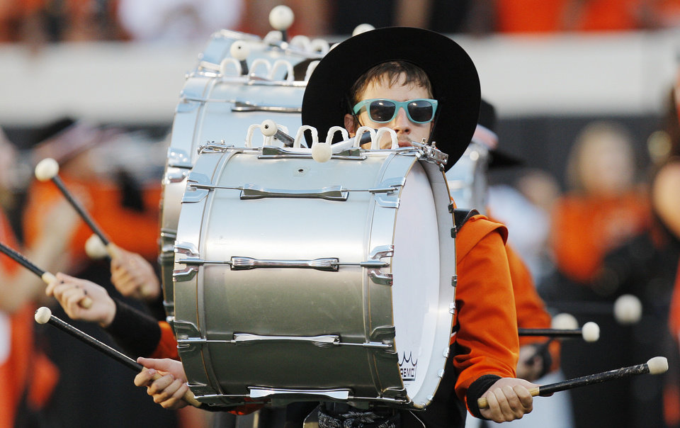 Photo - The OSU Cowboy Marching Band plays during pregame festivities on Thursday in Stillwater. PHOTO BY NATE BILLINGS, The Oklahoman