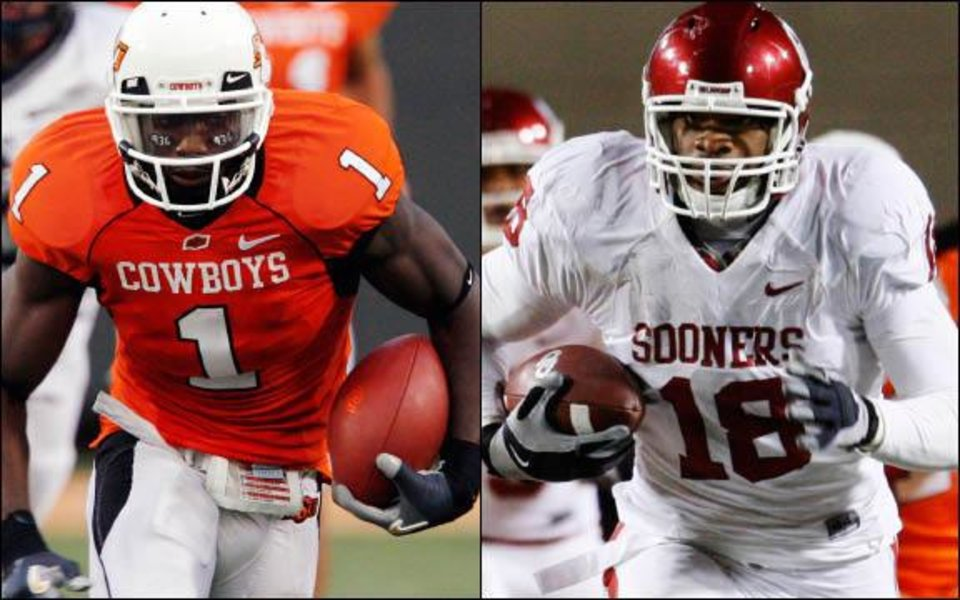 Photo - Former Oklahoma State receiver Dez Bryant, left, and former Oklahoma tight end Jermaine Gresham, right, have seen their draft stock drop, but they could be an interesting pick for someone in the first round. OKLAHOMAN ARCHIVE PHOTOS