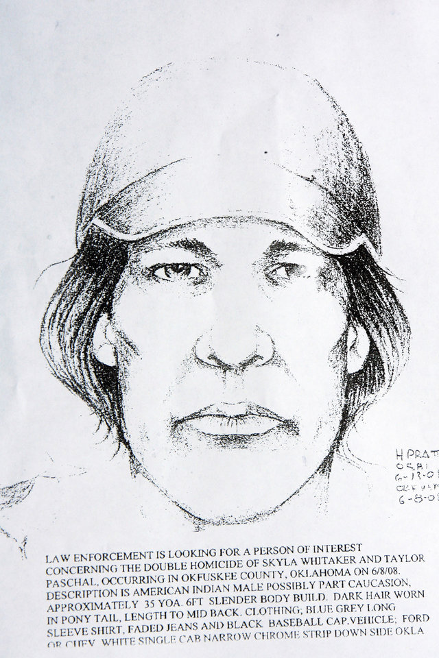 Photo - MURDERS, SHOOTING DEATHS, TAYLOR PLACKER, TAYLOR DAWN PASCHAL-PLACKER , SKYLA JADE WHITAKER, WELEETKA, SKETCH: Drawing of a person of interest in the murder of Taylor Paschal-Placker and Skyla Whitaker, Friday, June 13, 2008.   Taylor Paschal-Placker and her friend  Skyla Whitaker were shot and killed last Sunday on the dirt road near one of their homes, Thursday, June 12, 2008.   Copied by David McDaniel/The Oklahoman