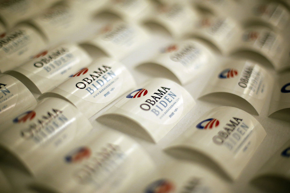 Obama/Biden support stickers during the Oklahoma Democratic Party watch gathering at the Reed Center in Midwest City, Tuesday, Nov. 6, 2012.  Photo by Garett Fisbeck, The Oklahoman