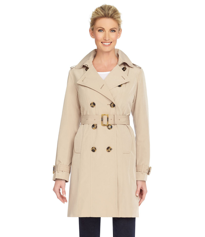 London Fog classic khaki trenchcoat, available at Dillard\'s. Photo provided.