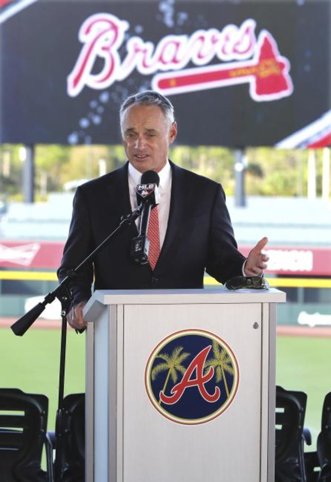 Photo -  Baseball Commissioner Rob Manfred. [Curtis Compton/Atlanta Journal-Constitution via AP]