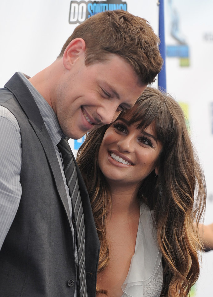 Photo - FILE - This Aug. 19, 2012 file photo shows Cory Monteith, left, and Lea Michele at the 2012 Do Something awards in Santa Monica, Calif.  Monteith, who shot to fame in the hit TV series