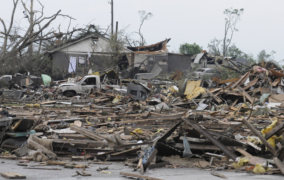 Photo - John Segars' Heating and Air was destroyed in Concord, Ala. after what appeared to be a tornado ripped through parts of the town, late Wednesday, April 27, 2011. The damage in the area is extensive with homes and businesses destroyed and people injured. (AP Photo/Birmingham News, Jeff Roberts)