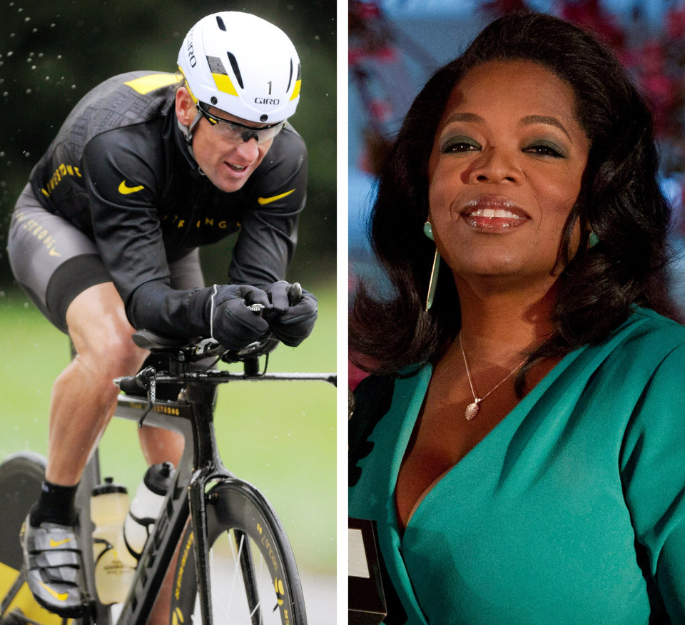 Photo - FILE - This combination image made of file photos shows Lance Armstrong, left, on Oct. 7, 2012, and Oprah Winfrey, right, on March 9, 2012. After more than a decade of denying that he doped to win the Tour de France seven times, Armstrong was scheduled to sit down Monday, Jan. 14, 2013 for what has been trumpeted as a