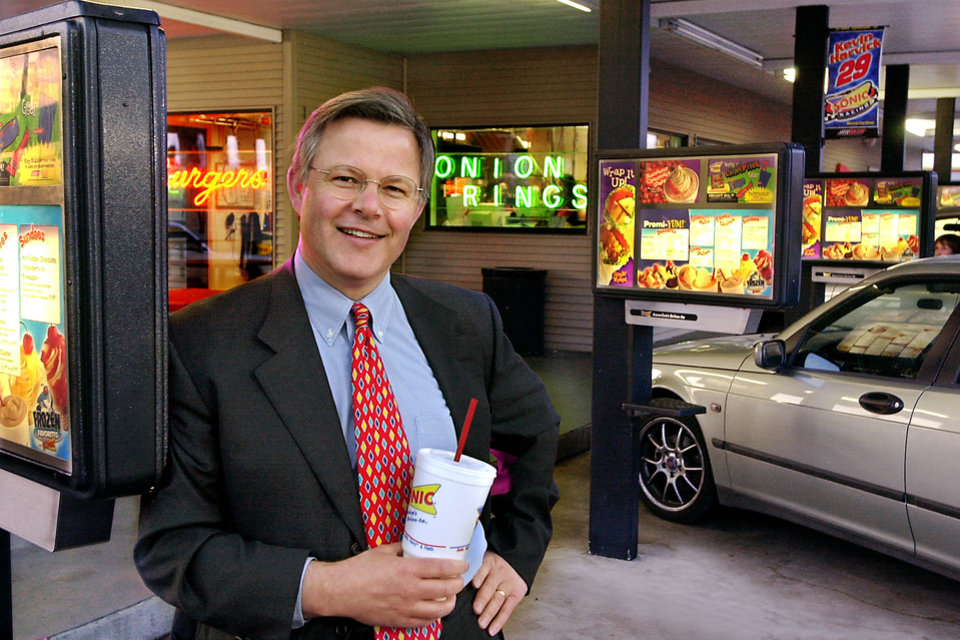 Photo -  Cliff Hudson at a Sonic in northeast Oklahoma City. 2002 photo. Staff photo by Jim Beckel.