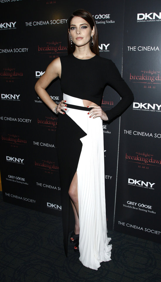 "Actress Ashley Greene attends the Cinema Society premiere of ""The Twilight Saga: Breaking Dawn-Part 1"" on Wednesday, Nov. 16, 2011 in New York. (AP Photo/Peter Kramer) ORG XMIT: NYPK107"