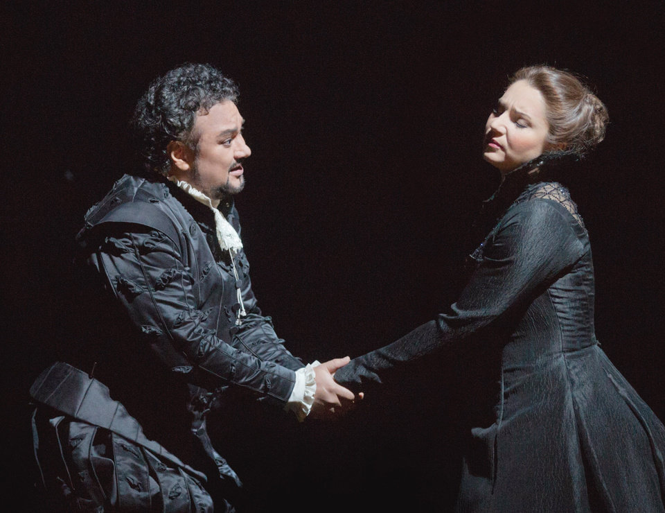 "Photo - In this Feb. 14, 2013 photo provided by the Metropolitan Opera, Ramón Vargas plays Don Carlo and Barbara Frittoli is Elisabeth de Valois during a dress rehearsal of ""Don Carlo"" at the Metropolitan Opera in New York. (AP Photo/Metropolitan Opera, Ken Howard)"
