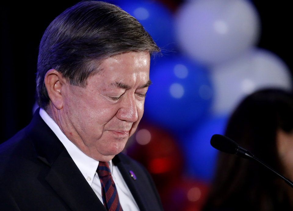 Photo - Drew Edmondson gives a concession speech after losing the governor's race to Republican Kevin Stitt during a watch party for Drew Edmondson and the democratic party at the Embassy Suites  in Oklahoma City, Tuesday, Nov. 6, 2018. Photo by Sarah Phipps, The Oklahoman