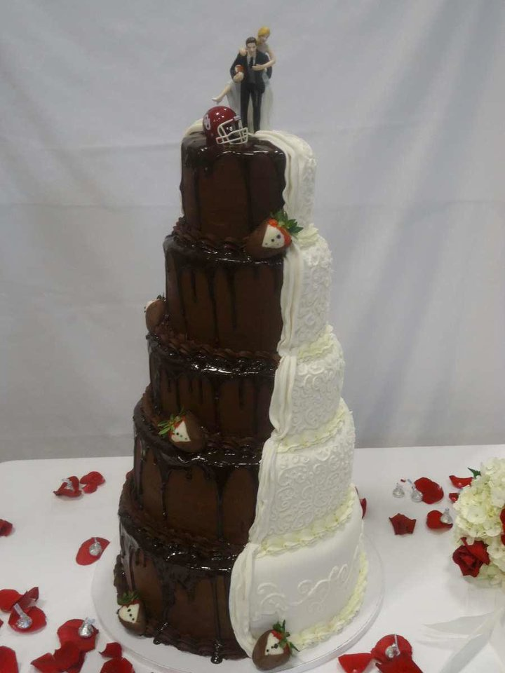 This 5-tier wedding cake was made by Baked in the days following the May 20 tornado. Bakery owners Amanda and Daniel Conway lost their home, but they didn't want to lose a customer. <strong> - PROVIDED BY DANIEL CONWAY</strong>