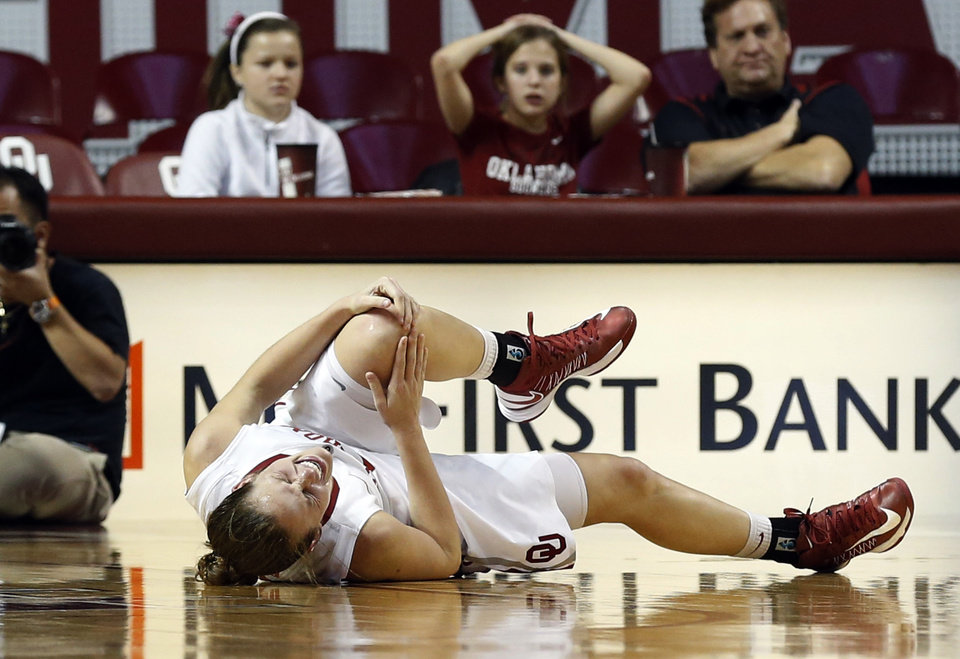 Whitaney Hand falls to the floor in pain before leaving the game as the University of Oklahoma Sooners (OU) play the North Texas Mean Green in NCAA, women's college basketball at The Lloyd Noble Center on Thursday, Dec. 6, 2012  in Norman, Okla. Photo by Steve Sisney, The Oklahoman