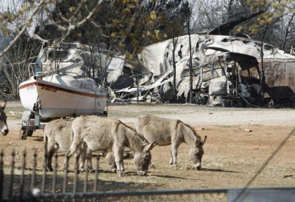 Photo - Livestock and a sail boat weathered a fire while a recreational vehicle, refrigierated trailer and outbuildings on Tom Anglin's property near State Highway 9 lay in ruins on Saturday, March 12, 2011, in Goldsby, Okla. in the aftermath of Friday's grass fire  Photo by Steve Sisney, The Oklahoman ORG XMIT: KOD