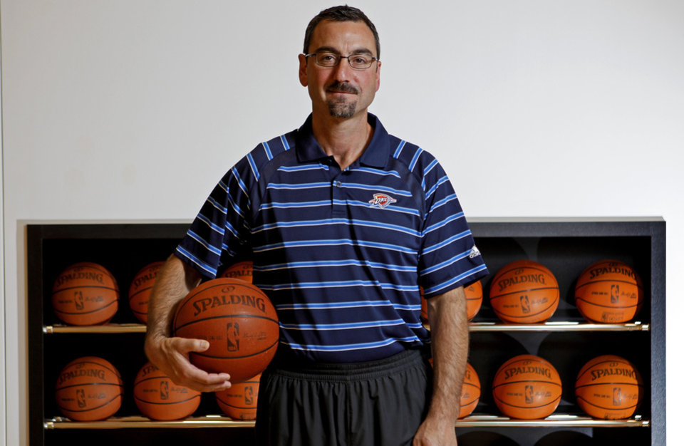 Marc St. Yves, director of team operations, poses for a photo inside the Thunder training facility in Oklahoma City, Saturday, June 9, 2012. Photo by Bryan Terry, The Oklahoman