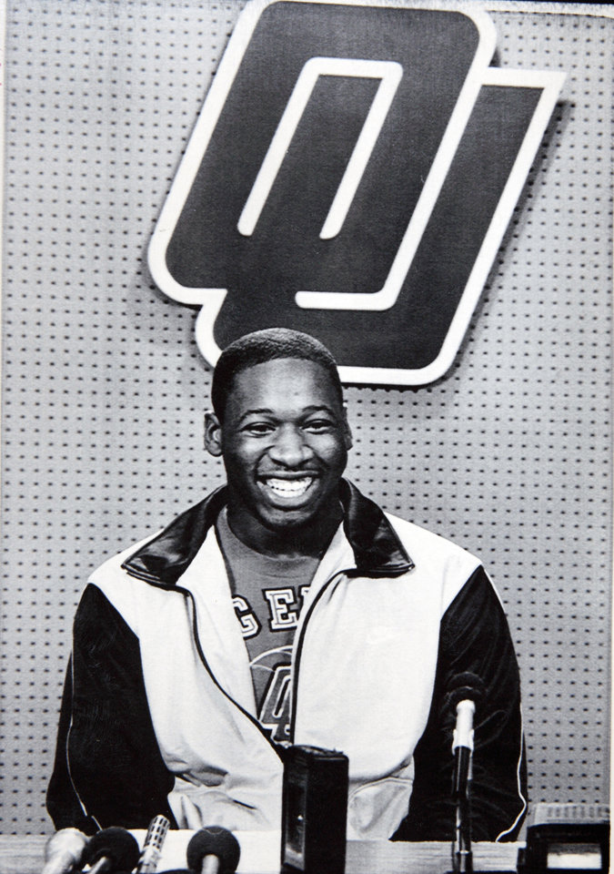 Former OU basketball player Wayman Tisdale. NORMAN,Okla., May 5-SAYS HE WILL STAY AND PLAY--University of Oklahoma basketball star Wayman Tiadale announced at a news conference he will be back next year to play for the Sooners. Tisdale ended speculation that he might be turning professional. (AP LaserPhoto) 1984. Photo taken 5/5/1984, photo published 7/29/1984 in The Daily Oklahoman. ORG XMIT: KOD