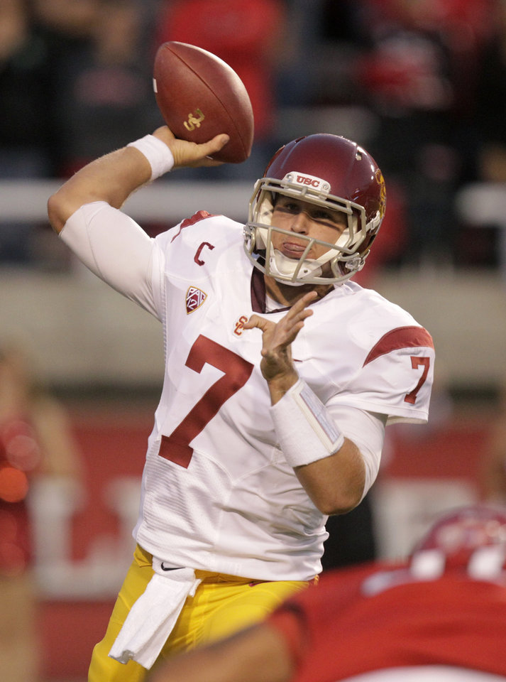 Southern California quarterback Matt Barkley (7) passes the ball in the first quarter during an NCAA college football game with Utah Thursday, Oct. 4, 2012, in Salt Lake City. (AP Photo/Rick Bowmer)