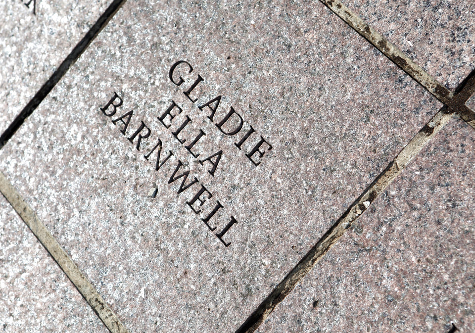 Photo -  The paver of Gladie Barnwell, 99, of Oklahoma City, is shown at the state Capitol. Photo by K.T. King, The Oklahoman   KT King -
